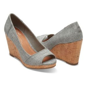 Toms gray metallic Stella peep toe cork wedges
